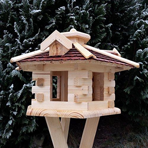 Qualitäts Vogelhaus mit Holzschindeln 6 Eck lasiert Vogelhäuser-Vogelfutterhaus großes Vogelhäuschen-aus Holz Wetterschutz (Braun) - 3