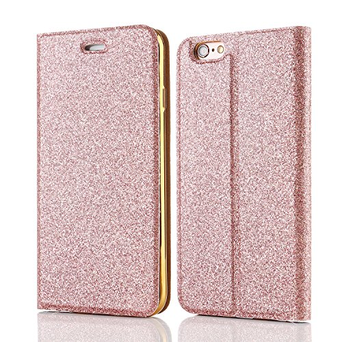 For iPhone 5S Case,Luxury Magnetic Bling Glitter PU Leather Flip Case Wallet Plating Back Protective Bumper Cover For iPhone 5/5S/SE - Rose Gold