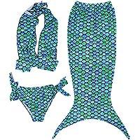 Hengsong 3Pezzi Costume da Bagno Sirena Bikini set Ragazze Principessa Sirena Costume Bambino (Top + Panty + Gonne)