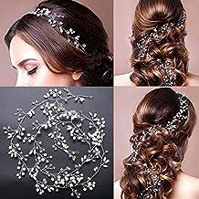 Accesorio para tocado de novia de Vanyda, estilo vintage, diadema con perlas y cristales para boda, 1m