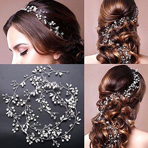 diadema con perlas y cristales para boda,