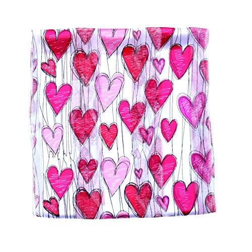 Schal Valentine Frauen Schal rot pink hearts Print, Textil, Weiß, 33 x 153 cm (Herz Valentine Schal)