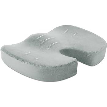 Naipo Cuscino per Sedie con Supersoft Memory Foam si adatta ad Ogni Sedia e Sedile come Supporto Lombare e Allevia il Dolore al Coccige e da Sciatalgia, adatto per Casa, Scuola, Ufficio e Auto - Grigio