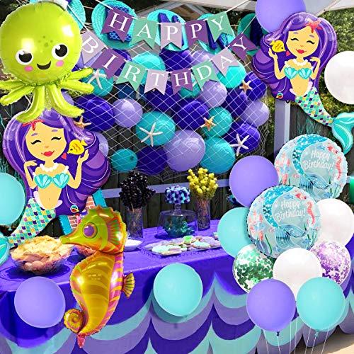 Jollyboom Meerjungfrau Party Dekorationen und Zubehör Kit Meerjungfrau Luftballons unter dem Meer Luftballons Fischnetz für Mädchen unter dem Meer Geburtstag Baby Shower Decor