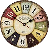 SkyNature Vintage Wall Clock, 35cm France Country Tuscan Style Wooden Clock with Large Arabic Numerals, Non-Ticking Battery O