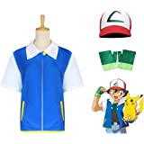 OPM Halloween Ash Ketchum Costumes For Kids and Adults Pokemon Cosplay Costume Set Gifts For Party 3PCS Kids 150