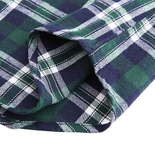 JEETOO Klassics Herren Slim Hemd Kariert Kentkragen Herbst/Winter Langarm Shirts Regular Fit Freizeit Karohemd Aus Baumwolle Grün