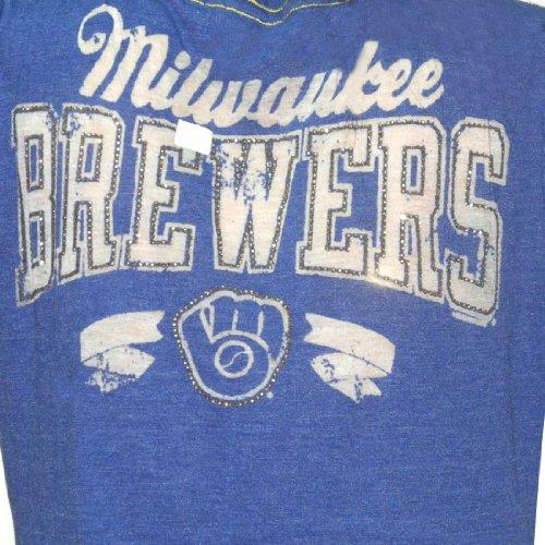 MLB Milwaukee Brewers Damen T-Shirt with Rhinestones (Vintage Look) Blau