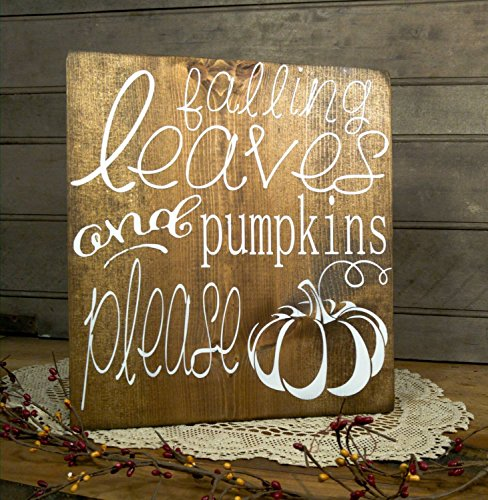 Wood Plaque Holzschild Falling Leaves und Kürbisse Bitte Seasonal Fall Harvest Decor Herbst Mantel Farmhouse Decor Halloween und Thanksgiving Schild
