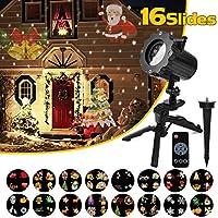 Qomolo Navidad Luz LED Para Proyector con 16 Motivos, Control Remoto RF, Luces de Proyección Impermeables IP65 Para Fiesta/Boda/Festival