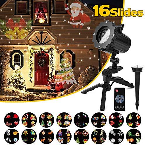 Qomolo LED Projektionslampe Weihnachten Projektor Lampe Kinder Wandbeleuchtung Garten Beleuchtung Wasserdicht mit 16 Motiven Fernbedienung für Weihnachten Feiertag Geburtstag Party