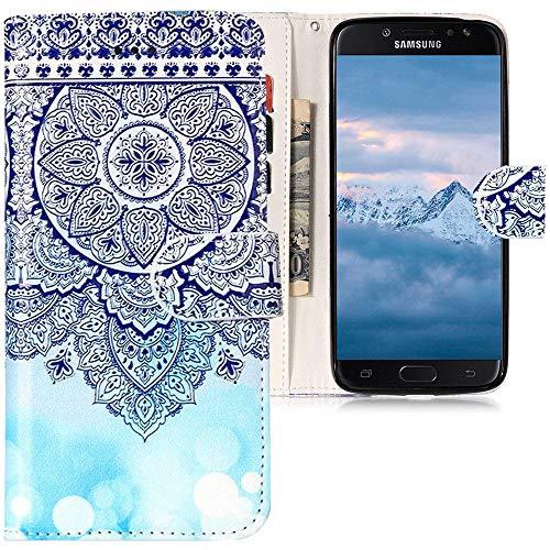 CLM-Tech kompatibel mit Samsung Galaxy J7 (2017) DUOS Hülle Tasche aus Kunstleder, PU Leder-Tasche Lederhülle Blume Ornament Kreis Muster blau weiß