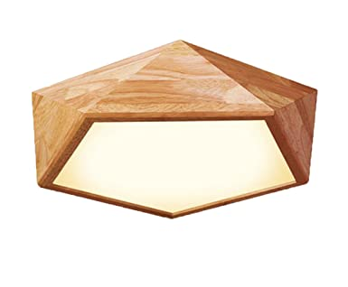 AYAYA Holzlampe Led Deckenleuchte Geometrie Holz Protokolle Treibholz Rustikal Massivholz Landhaus Holzoptik Deckenlampe Wohnzimmerlampe Schlafzimmerlampe