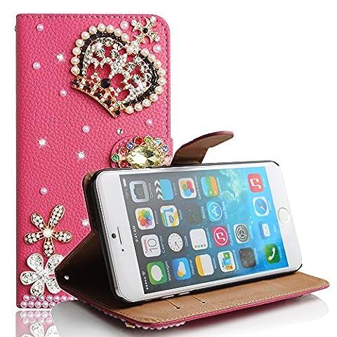 5,5 zoll iPhone 7 Plus Hüllen, TechCode® Schutzhülle Tasche mit Kartenfach Aufstellfunktion Magnetverschluss [3D Handgefertigt] Diamant Serie Bling Schutz Kristall klar Hülle Case Cover Etui für Apple 5,5 Zoll iPhone 7 Plus(iPhone 7 Plus, (Stern Klar Deckel)