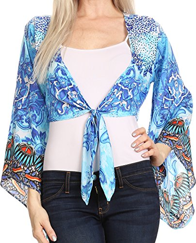 Crop Sakkas Amita Imprimé Agrémentée Kaftan avant Tie Kimono Sleeve Top Shrug 17033-Turq / Bleu