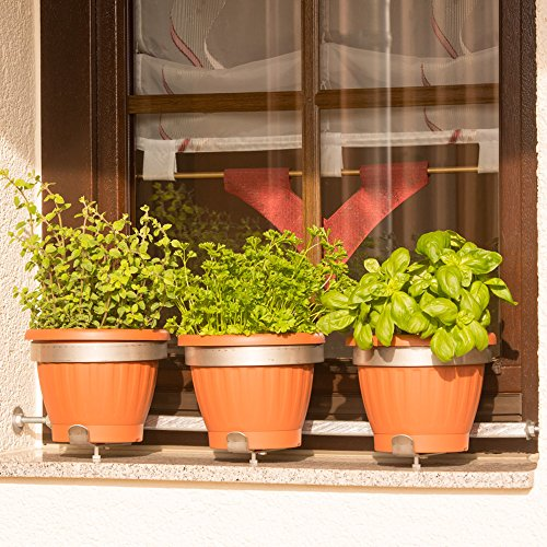 Blumentopfhalter Vario-Fix 'Solo' für drei Töpfe Ø15 bis 20cm, auf Fensterbänken, ohne bohren, nur verspannen