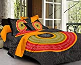 #5: SheetKart Mandala 144 TC Cotton Double Bedsheet with 2 Pillow Covers - King Size, Superior Black