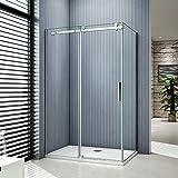 Porte de douche coulissante 140x90x195cm cabine de douche verre anticalcaire paroi de douche