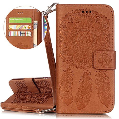ISAKEN Custodia iPhone 6 Plus, Cover iPhone 6S Plus, Elegante borsa Custodia in Pelle Protettiva Flip Portafoglio Case Cover per Apple iPhone 6 Plus (6 5.5) / con Supporto di Stand / Carte Slot / Chi Dreamcatcher: marrone