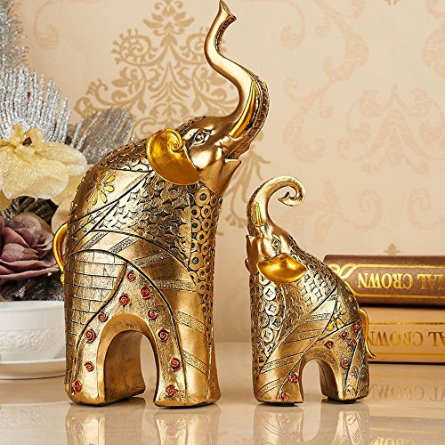 2 pieces elephant sculpture decoration statue luck decorative figures Living room decoration gift resin Height 30 / 17 cm Golden Gold