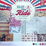 CraftDev Set of 24 Thick Beautiful Pattern Design Printed Papers for Art n Craft, Size: 12 x 12 Inch - 12 Unique Designs (2 Sheets Per Design) (ENJOY THE RIDES)