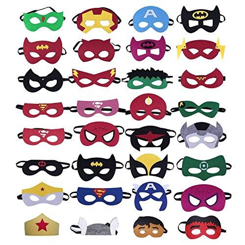 Marooma Superhelden-Masken, Party-Masken für Kinder, weicher Filz, Party-Beutel, Maskenball, Cosplay, Augenmasken für Kostüme (32-teiliges Set) (Superman Kostüm Ändern)