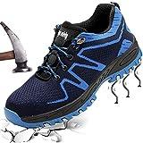 XIAO LONG Damen Herren Sicherheitsschuhe Arbeitsschuhe Atmungsaktiv Stahlkappe Schutzschuhe Traillaufschuhe für Sommer,Blau1,37