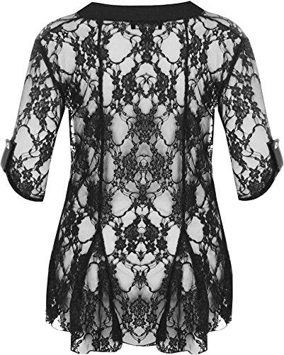 WearAll - Damen Übergröße Spitze Offen Cardigan Top - 7 Farben - Größe 40-54 Schwarz