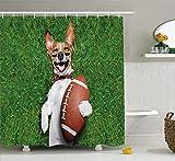 SHUHUI Shuuuui Kit de décoration de Sport pour Chien avec Ballon de Rugby et Impression Amusante avec Image Amusante Comic Witz - Rideau de Douche Vert - Blanc