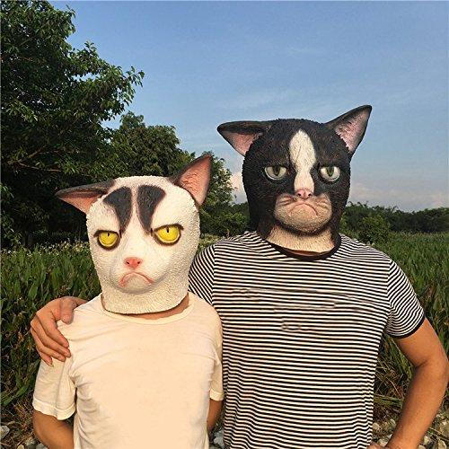 Weiße Katze Latex Kopf Maske niedlich halloween Kostüm Maske cosplay Tier voller Gesichtsmaske Karneval für Erwachsene und Kinder von yunhigh (Kostüm Katze Weiße Halloween)