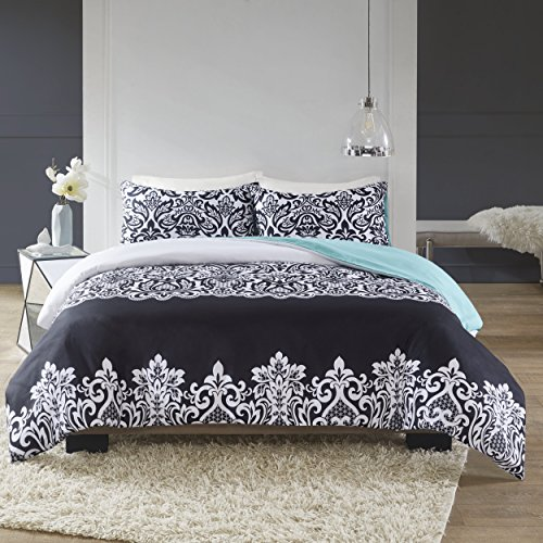 SCM Leona Printed Damask Bedding, Classic Pattern Modern Design Super Soft Duvet Cover Set, Black & White Top With Teal Solid Back, King Size