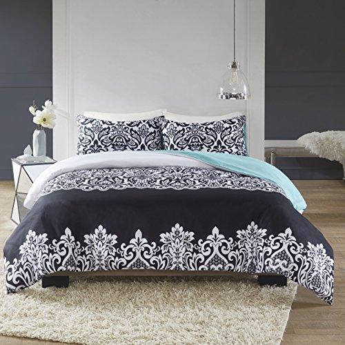 SCM Leona Printed Damask Bedding, Classic Pattern Modern Design Super Soft Duvet Cover Set, Black & White Top With Teal Solid Back, King Size