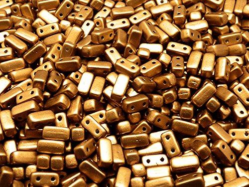 50pz 3x6mm Brick Beads - Czech perle di vetro pressato rettangolare con due fori, Crystal Bronze Gold
