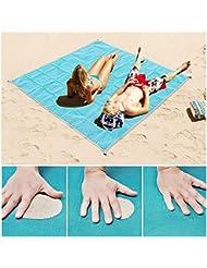 Hailicare Sable gratuit Tapis de plage de couverture de pique-nique - Sable, DE LA saleté et la poussière Disapper. - Séchage rapide, facile à nettoyer Idéal pour la plage, pique-nique, le camping, les événements en extérieur, 200*200cm (Bleu)