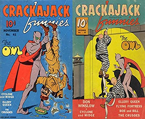 Crackerjack Funnies issues 41 & 42. Features The Owl. Don Winslow, Cyclone and Midge, Ellery Queen, Flying Fortress, Bob and Bill, The Crusoes. Golden ... comics. (Action and Adventure comics)