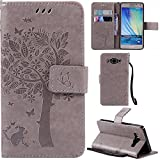 Ooboom® Samsung Galaxy A5(2014 Version) Case Cat Tree Pattern PU Leather Flip Cover Wallet Stand with Card/Cash Slots Packet Wrist Strap Magnetic Clasp for Samsung Galaxy A5(2014 Version) - Gray