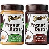 Earthnut Peanut Butter Combo Creamy Chocolate &Natural (Non-GMO, Gluten Free, Vegan) (Unsweetened)(Premium)(Pack of 2)