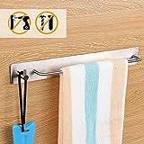 HOMFA Handtuchhalter Ohne Bohren Edelstahl Badtuchstange mit 3M Kleber 34cm Wasserdicht Feuchtigkeitsresistent Poliert für Bad Küche Wandhandtuchhalter