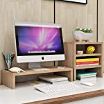 Set 2 Wood Monitor Stand + 3 Tier Shelf For Home Office Use, Monitor Stand Riser For Laptop Computer/TV/PC Base, Laptop...