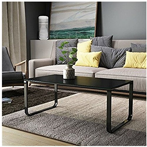 OFCASA Black Modern Coffee Table End Side Table Glass Top Living Room Furniture Black Legs Multi Colour, Retro Coffee Table Metal Frame Tempered Glass Black Top Living Room (Black)