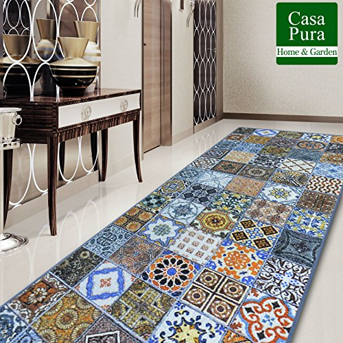 casa pura® Vintage Carpet Rug Runner for Hallway, Bonita 80x100cm | Non-Slip | Patchwork Pattern in Vintage Style Ideal for Kitchen, Bedroom Floor etc | Multiple Lengths