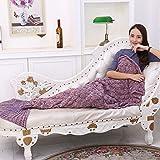 Cola de sirena manta mantas de lana de punto suave y cálido para sofá cama sala de estar (Para adultos, dark pink)