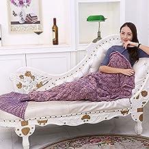 Wuiyepo Mermaid cola manta para los niños Adolescentes adultos hechos a mano ola Mermaid mantas Crochet Knitting manta Estaciones calientes suave sala de dormir bolsa de dormir Mejor regalo de Navidad de cumpleaños (púrpura)