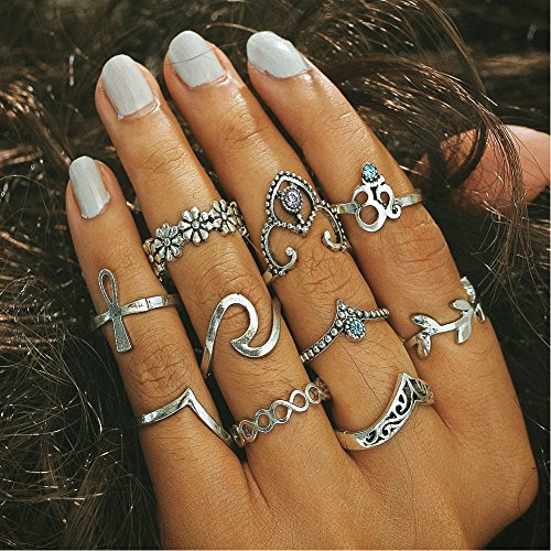 Finger Ring Boho Modetrend Ring Party Ring set (Trachten Ohrringe Schwarze)