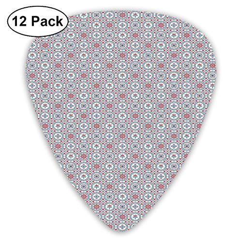 Rock Tile (Guitar Picks12pcs Plectrum (0.46mm-0.96mm), Abstract Composition With Blooming Foliage Leaves Portuguese Azulejo Style Tile Art,For Your Guitar or Ukulele)