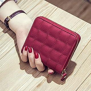 GEZICHTA Frauen Gesteppt Reißverschluss Kurze Geldbörse Mädchen Süße Mini Geldbörse Karte Münze Staubbeutel, Rot, 1