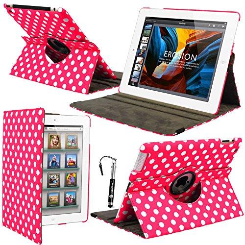 Apple Fall Ipad Pink Hot 2 (MadCase Schutzschale, für Apple iPad 4 (mit retina-display), mit Muster, aus PU-Leder, drehbar, mit Standfunktion) kompatibel mit iPad 2 und iPad 3, inklusive Displayschutzfolie, Stylus Stift, & Rosa Polka Dots - Hot Pink)