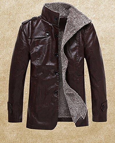 LaoZan Herren PU-Leder Warmer Mantel Winterjacke Fleece Mantel Jacken Lederjacke Trench Coat Kaffee