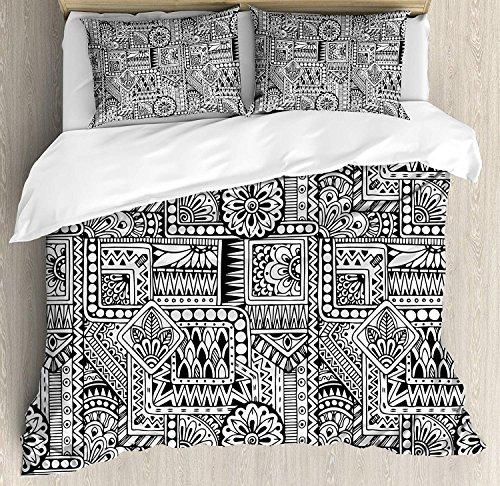 Doodle 3-teiliges Bettwäscheset Bettbezugset, Ethnisches Design mit einigen geometrischen Formen mit Blättern und Punkten Afrikanische Kultur, 3-tlg. Tröster- / Qulitbezugset mit 2 Kissenbezügen, Schw -