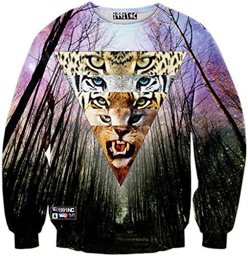 Pizoff Unisex Hip Hop Sweatshirts mit 3D Digital Print 3D Muster wald baum aigen tier leopard tiger loewen Y1759-J8-M (Leopard-print-jeans)